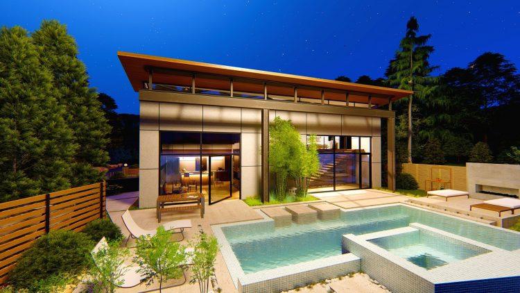 maison rénovation nuit piscine