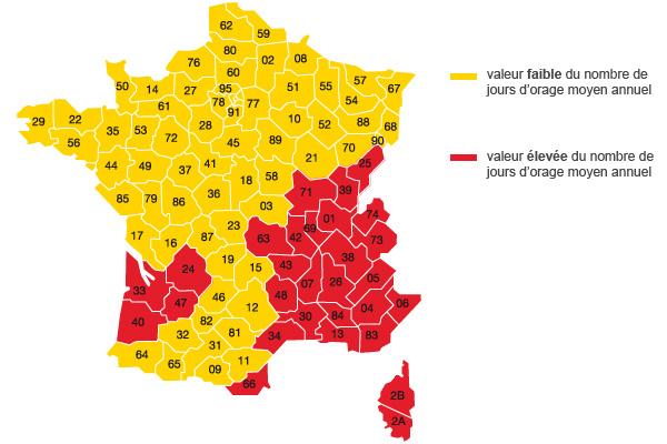Parafoudre - Carte de France